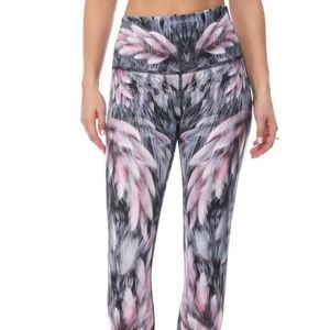 EVCR Evolution and Creation Feather Print High Waist Pink Gray Leggings Size L